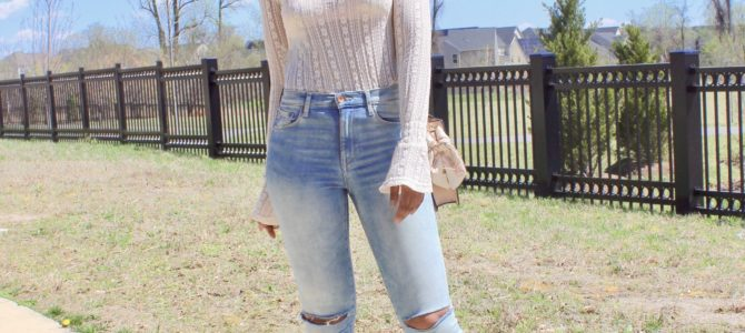 Spring Style: Lace Top + Bralette + Ripped Denim