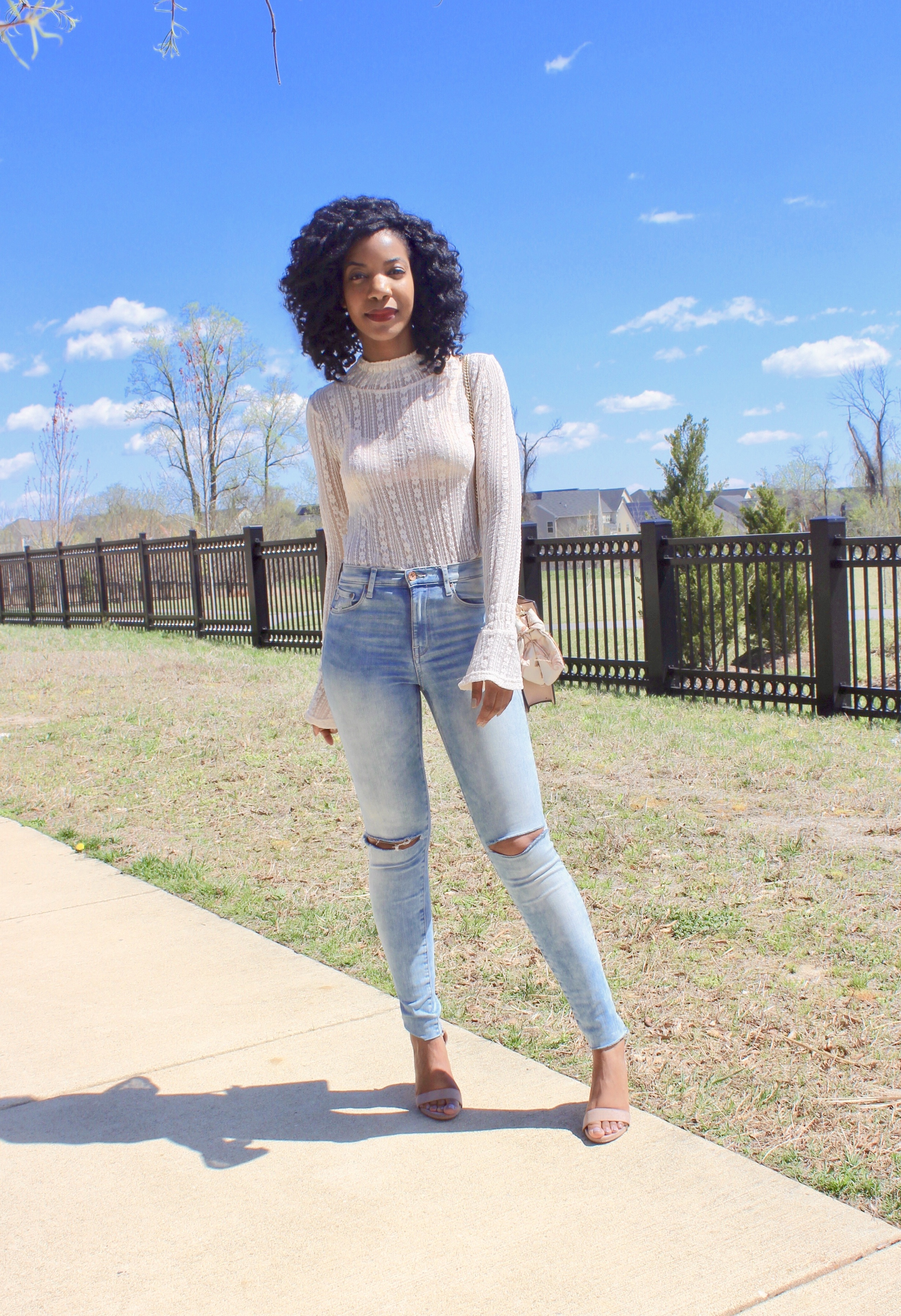 SHEIN Flounce Sleeve Sheer Lace Top Without Bra, http://bit.ly/2FhOVFn, H&M Ripped Jeans, DSW Nude Heels