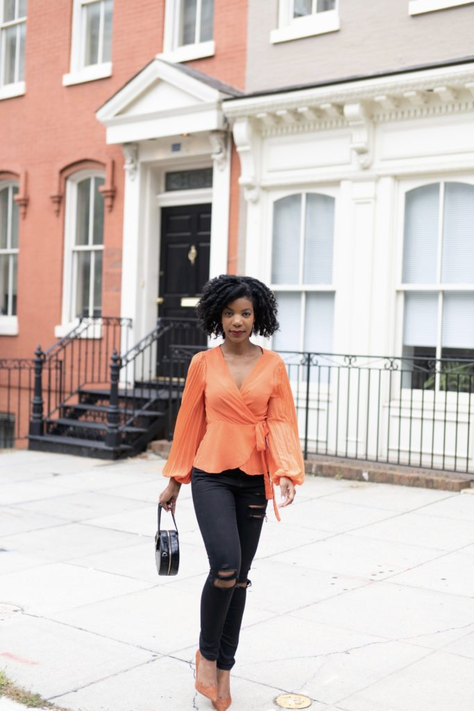 SHEIN Neon Orange Pleated Sleeve Tie Side Wrap Top, Asos Black Ripped Jeans, Steve Madden Daisie Pumps in Chestnut, SheIn Faux Black Crocodile Bag