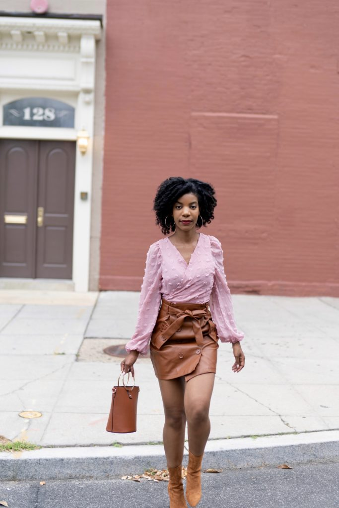 SHEIN Lantern Sleeve Wrap Belted Chiffon Blouse in Pink, Forever21 Camel Vegan Leather Skirt, Forever21 Camel Booties, O Ring Bucket Purse