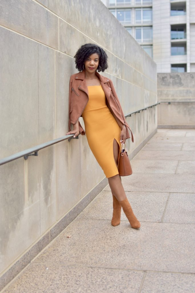 SHEIN Thick Strap Slit Hem Fitted Dress Without Belt, Mustard Dress, Forever 21 Camel Ankle Boots, Forever21 Suede Mauve Moto Jacket