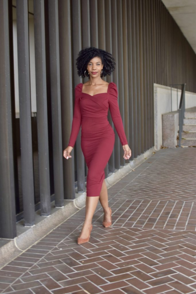 SHEIN Sweetheart Neck Puff Sleeve Split Back Wrap Dress Burgundy, Steve Madden Daisie Pumps in Chestnut