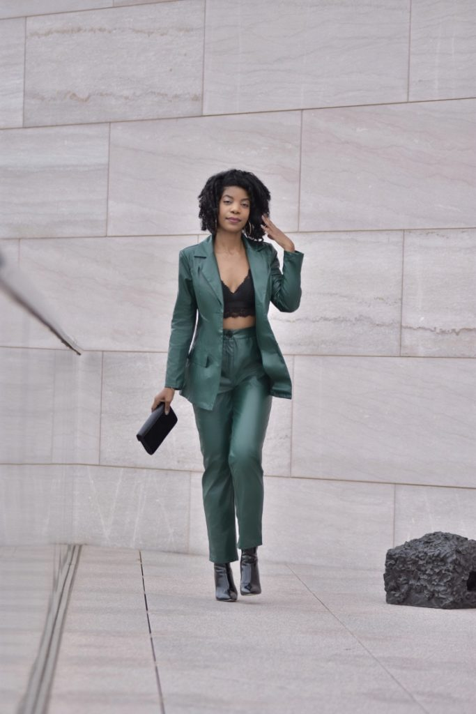 SHEIN Green Single Breasted Faux Leather Blazer & Pants Set, H&M Black Bralette, Simmi Shoes Black Ankle Boots