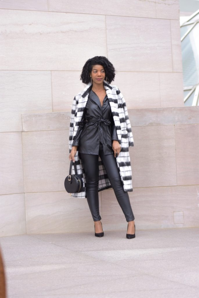 SheIn Black Notch Collar Self Belted PU Blazer, Vegan Leather Blazer, Black and White Plaid Longline Coat, H&M Vegan Leather Black Pants, Steve Madden Daise Black Suede Pumps, SheIn Snakeprint Purse