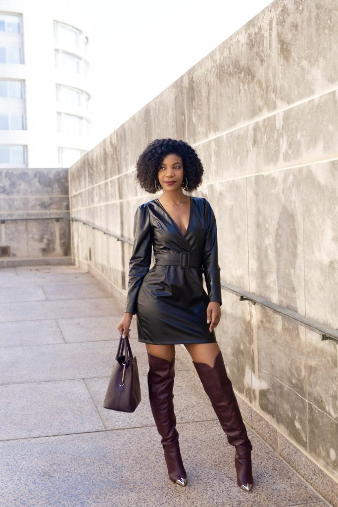 SHEIN Surplice Wrap Belted PU Dress, Shoedazzle  Over The Knee Dorothy Bourdeax Boots