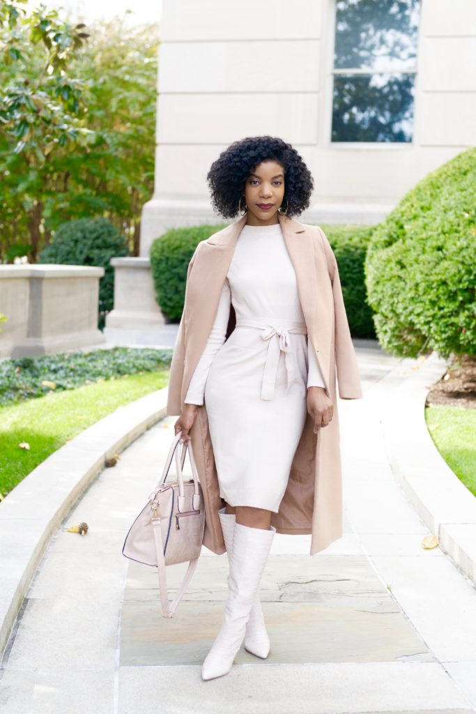 SHEIN Slit Side Belted Sweater Dress, Forever21 Camel Coat, Shoedazzle Evelina Boots in Blush
