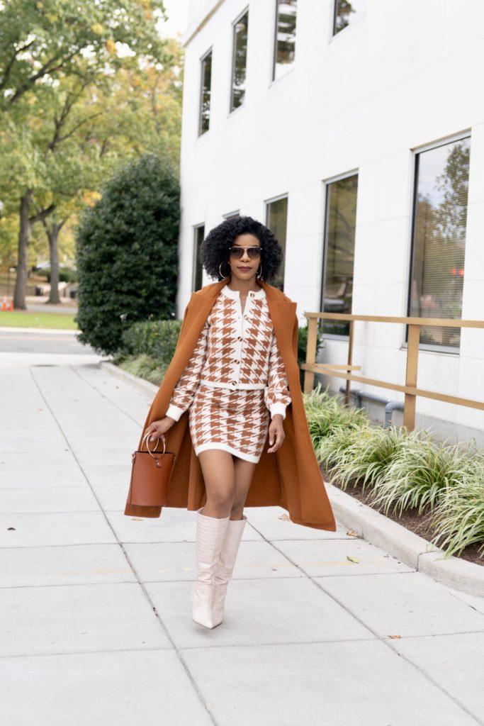 Houndstooth Sweater Set, Camel Belted Midi Coat, Shoedazzle Evelina boots is Blush