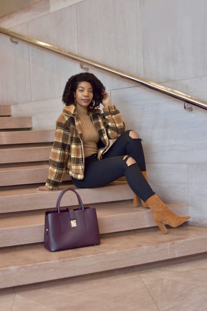 SheIn Plaid Teddy Jacket, Camel Turtleneck, Black Ripped Jeans, Camel Boots