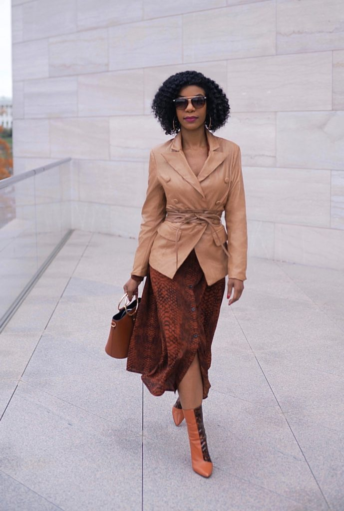 SHEIN Notched Collar Double Breasted Leather Look Camel Blazer, Faux Leather Camel Belt, Brown Snakeskin Print Belted Shirt Dress, Neutral Outfit, Office wear, Work wear