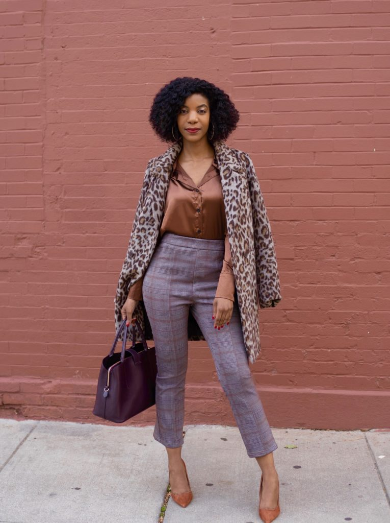 SHEIN Brown Solid Button Front Satin Blouse , SHEIN Plaid Crop Straight Leg Pants, Macys Bar III Leopard Print Coat, Steve Madden Daisie Pumps in Chestnut, Work Outfit, Workwear