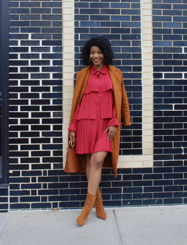 SHEIN Burgundy Pleated Tiered Layer Shirt Chiffon Dress, SHEIN Belted Camel Coat, Forever21 Camel Booties