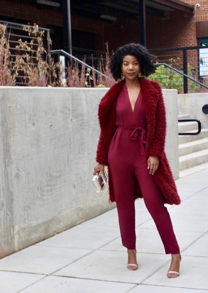 SHEIN Premium Burgundy Plunge Neck Cut-Out Back Belted Jumpsuit, SHEIN Burgundy Faux Fur Coat, Steve Madden Nude Heels, Forever21 Clear Clutch