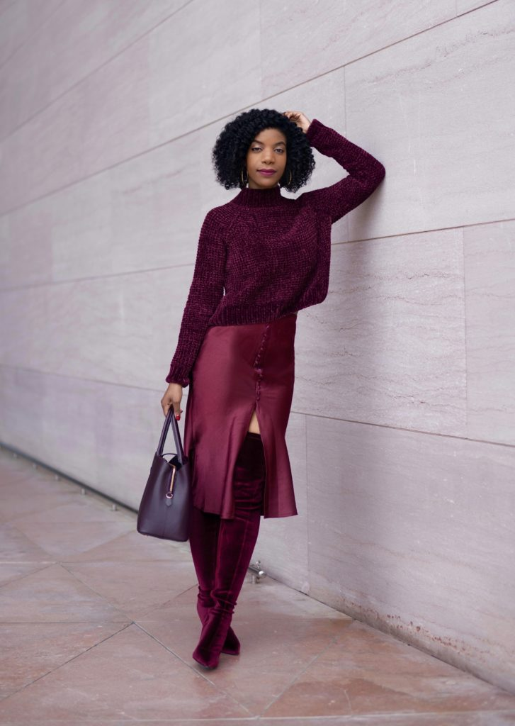 H&M Wine Crushed Velvet Sweater, SHEIN Burgundy Wide Band Waist Button Detail Split Hem Satin Skirt, Ego official wine Alabama Thigh High OTK Boots, H&M Wine Purse, Wine Monochrome Outfit, Burgundy Monochrome Outfit