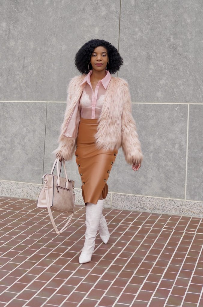 SHEIN Pink Lantern Sleeve Organza Sheer Blouse Without Bra, SHEIN Brown 60s Double Button Asymmetrical Hem Belted Faux Leather Skirt, SHEIN Pink Faux Fur Coat, Shoedazzle Evelina Boots in Blush, Neutral Outfit Idea