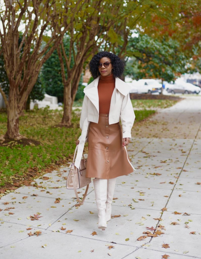 SHEIN PU Beige Waterfall Self Tie Biker Jacket, SHEIN Brown Turtleneck Rib Knit Fitted Sweater, Brown, SHEIN Brown Button Up Leather Look Skirt, Shoedazzle Evelina Boots in Blush, Neutral Outfit Idea