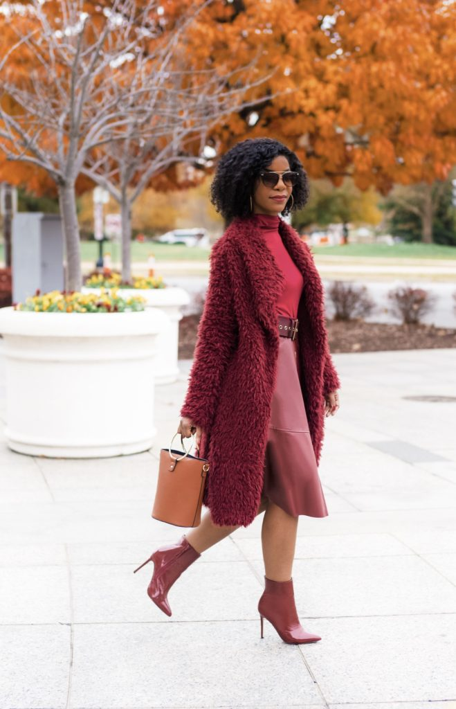 SHEIN Burgundy Faux Fur Coat, SHEIN Burgundy Mock Neck Long Sleeve Fitted Tee, SHEIN Burgundy Single Breasted Leather Look Flared Skirt, Forever21 Red Booties, Burgundy Monochrome Outfit, Holiday Outfit idea