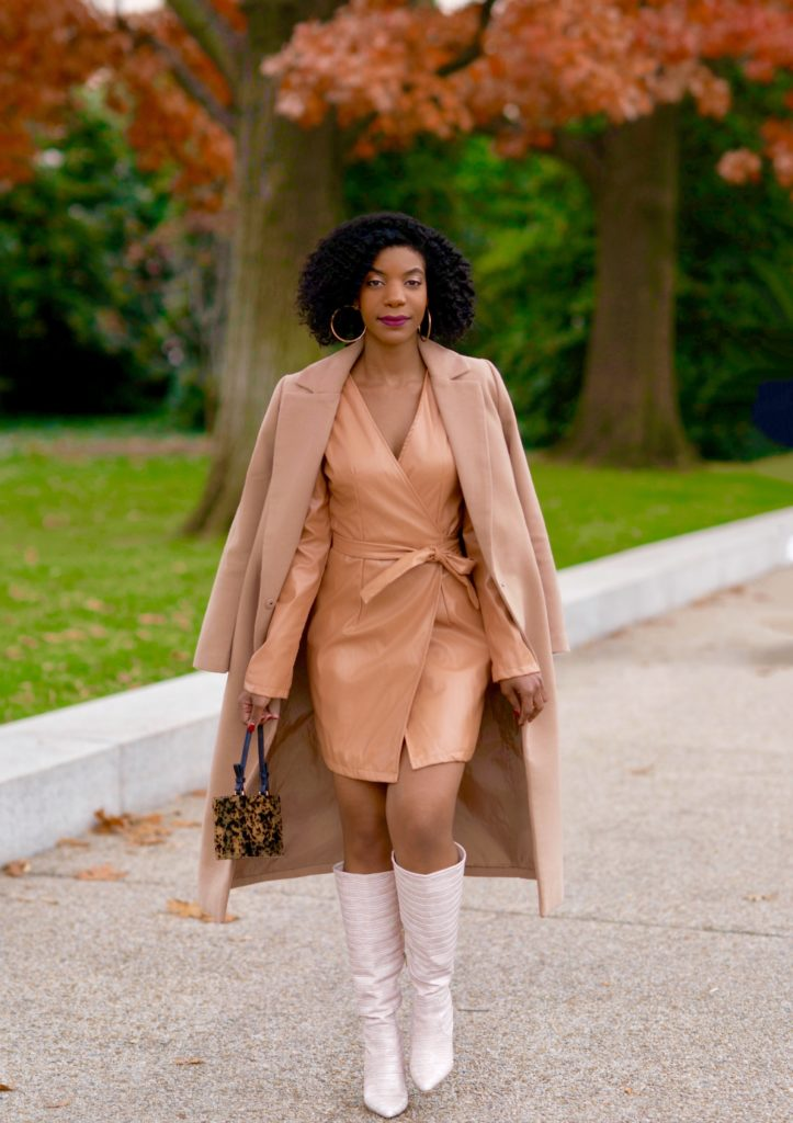 SHEIN Camel Wrap Tie Side Puff Sleeve PU Dress, Forever21 Camel Coat, Shoedazzle Evelina Boots in Blush, Topshop Purse, Neutral outfit