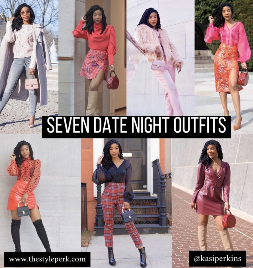 Seven Date Night Outfits, Date Night Inspo, Date Night Inspiration, Plaid, Tartan, Pink Outfits, Monochromatic Outfits, Red Outfits
