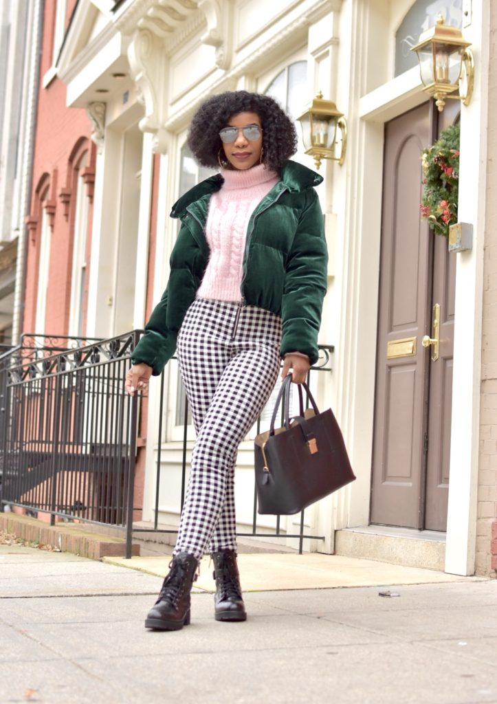 Green SHEIN Zipper Front Velvet Padded Jacket, Pink Turtle Neck Cable Knit Fuzzy Sweater, O-Ring Zip Front Plaid Pants, Black Snakeskin Print Combat Boots, Black Purse