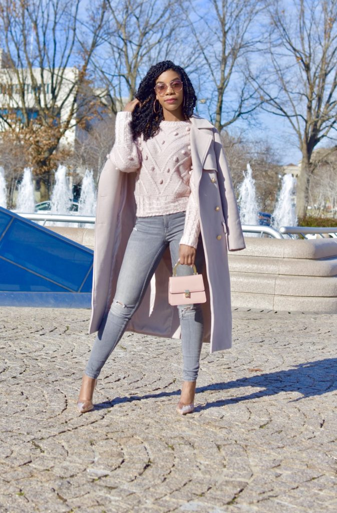 SHEIN Solid Popcorn Knit Sweater, Pink Pastel, Zara Gray Jeans, Missguided Pale Pink Coat, SIMMI Clear Pumps, Topshop Small Pink Purse with handle