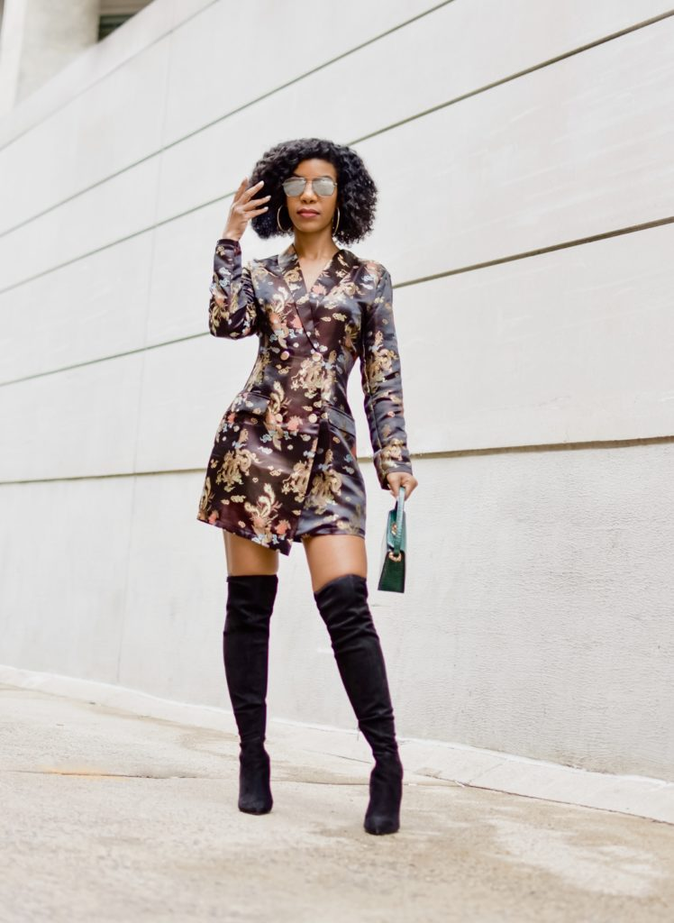 Dragon Jaquard Shawl Collar Blazer Dress, Black OTK Boots