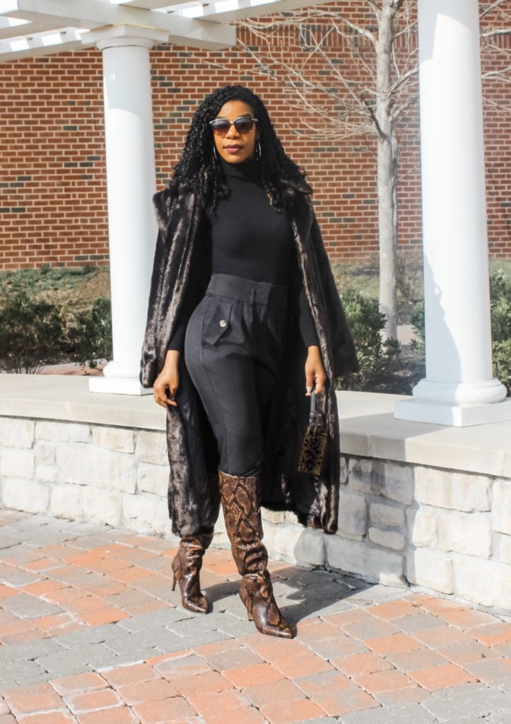 SHEIN Pleated Detail Slant Pocket Pants, Black Turtleneck, Black Faux Fur Coat, Steve Madden Kimari Brown Snakeskin Print Boots