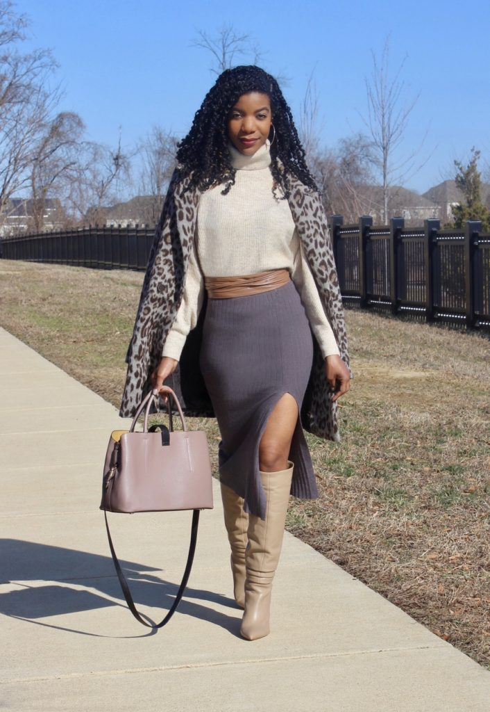 Cream Turtleneck, SHEIN Faux Leather Wrap Belt, Gray Split Hem Pencil Sweater Skirt, Vince Camuto Kashiana Tall Dress Boots in Taupe, Leopard Print Coat, H&M Blush Purse