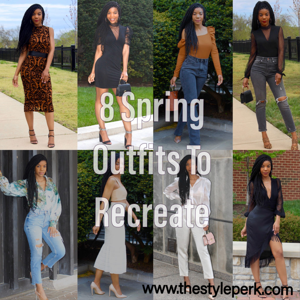 Eight Spring Outfits To Recreate, SHEIN, Casual Outfit, Brunch Outfit, Daytime Outfit, Night Outfit, Date Night Outfit, LBD, Party Outfit, Jeans Outfit, Marley Twists