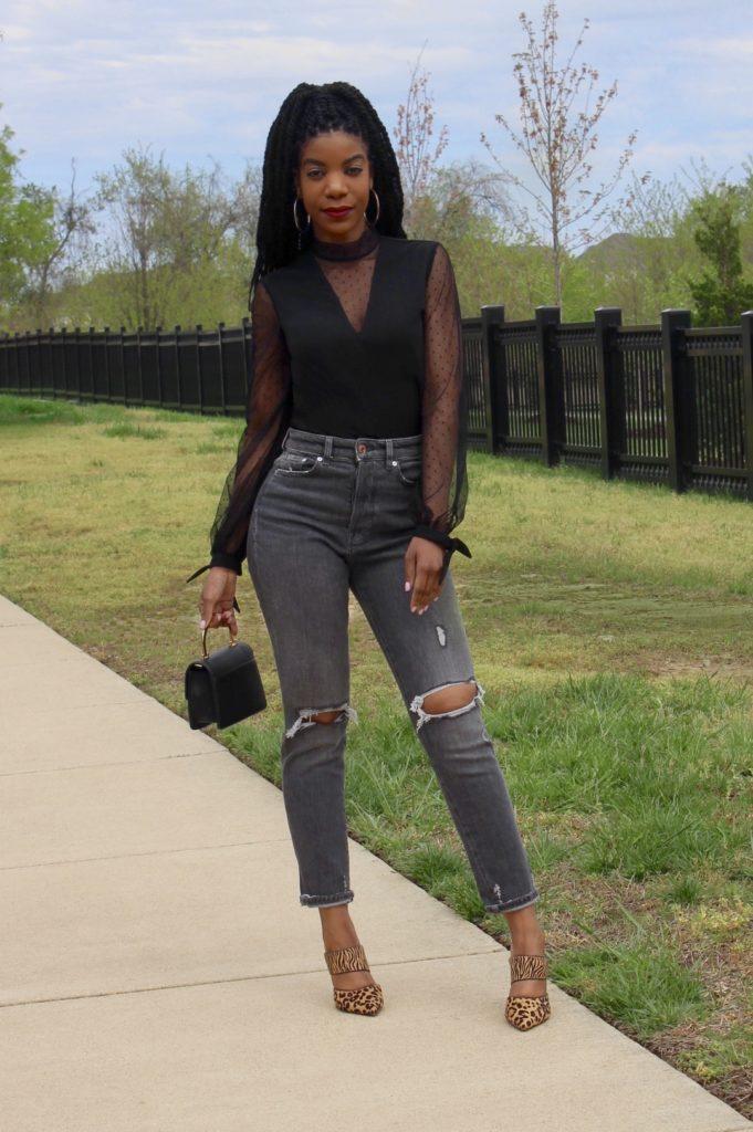 SHEIN Dobby Mesh Yoke Knotted Cuff Top Black, H&M Gray Ripped Jeans, Topshop Black Mini Purse, Express Leopard Print Heels
