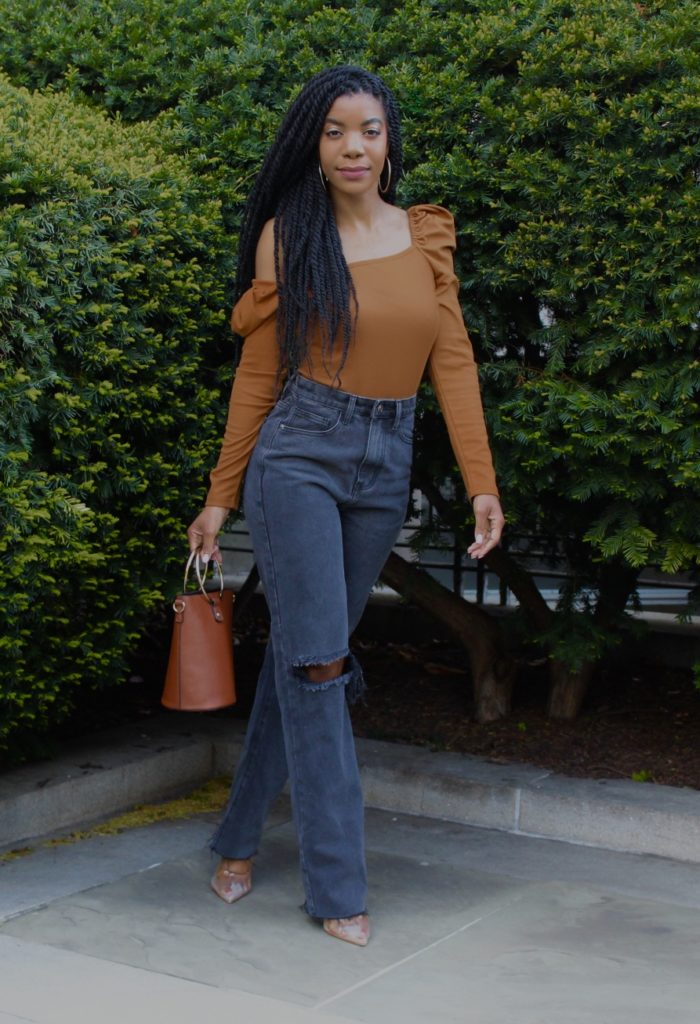 Tan Solid Square Neck Puff Sleeve Ribbed Tee, Dark Gray/Black Missy Empire Wide Leg Jeans, Simmi Shoes Clear Court Heels, Forever21 Bucket Bag with Circle Handles