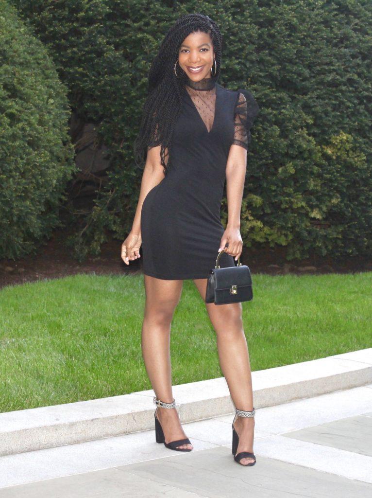 SHEIN Black Mock Neck Split Hem Damask Flocked Mesh Dress, Topshop Black Mini purse, Amiclubwear Black Open Toe Heels