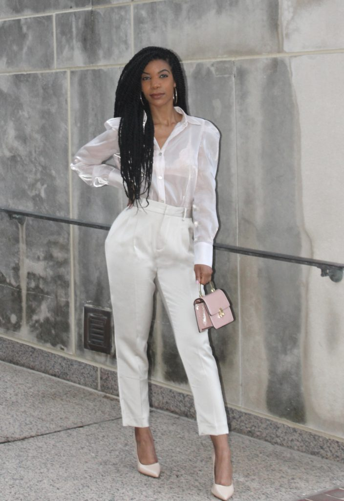 SHEIN Pale Pink Collared Organza Blouse Without Bra, Zara Loose Fitting Pants, Steve Madden Nude Pumps, Topshop Pink Purse