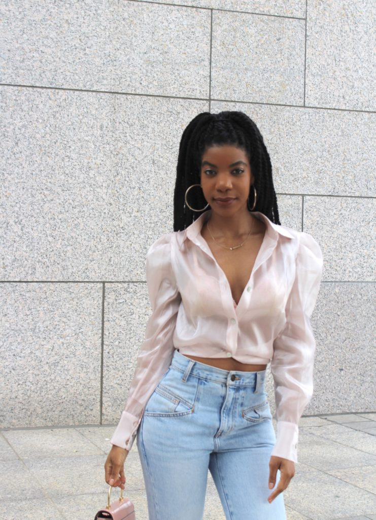 SHEIN Pale Pink Collared Organza Blouse Without Bra, Current Elliot High Waisted Crop Jeans, Topshop Pink Minibag