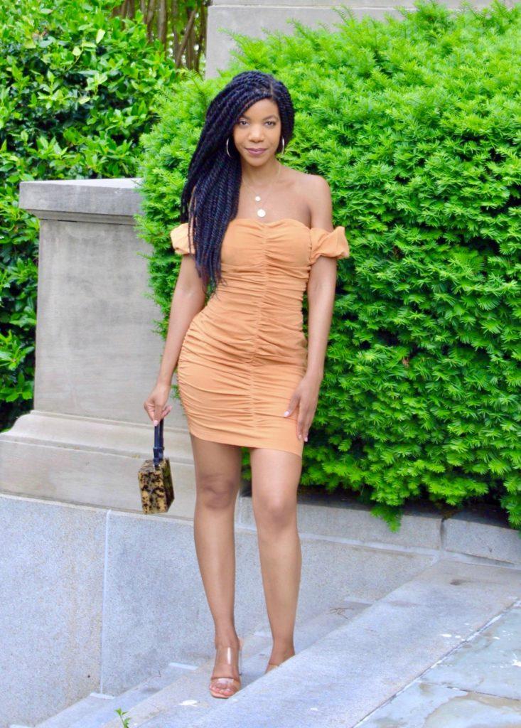 Shein Off the Shoulder Ruched Dress, Date Night Look, Summer Dress, Orange Dress