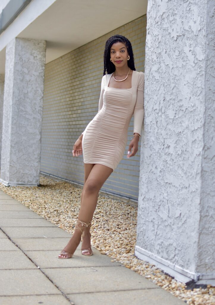 Femme Luxe Nude Square Neck Ruched Bodycon Mini Dress - Gina, Windsor Store Barely There Clear Nude Lace Up Heels, summer fashion, summer dress, brunch outfit idea, date outfit idea, neutral outfit idea, nude dress, going out outfit