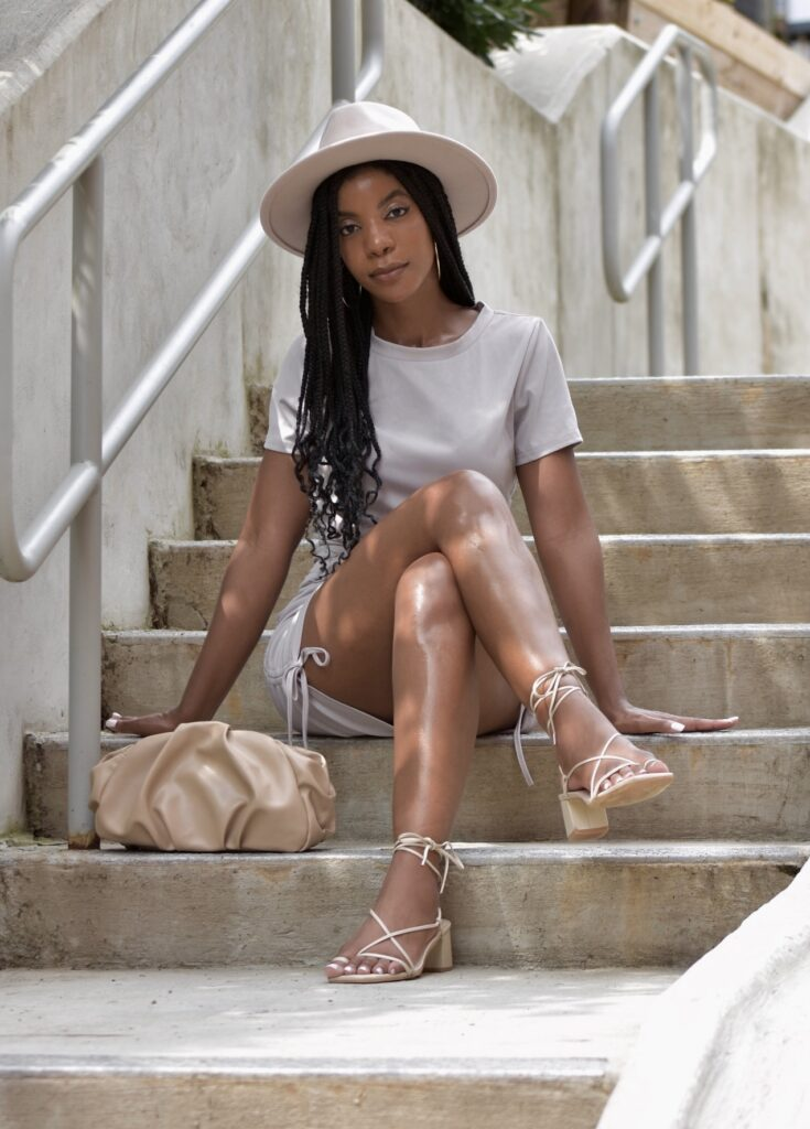 SHEIN Light Gray Solid Drawstring Side Fitted Dress, Beige Fedora, Cream Croissant Clutch, Sol Sana Sonia Birch Lace Up Heels, fall fashion, fall outfit, fall accessories, brunch outfit idea, date outfit idea, neutral outfit idea, going out outfit, vacation outfit