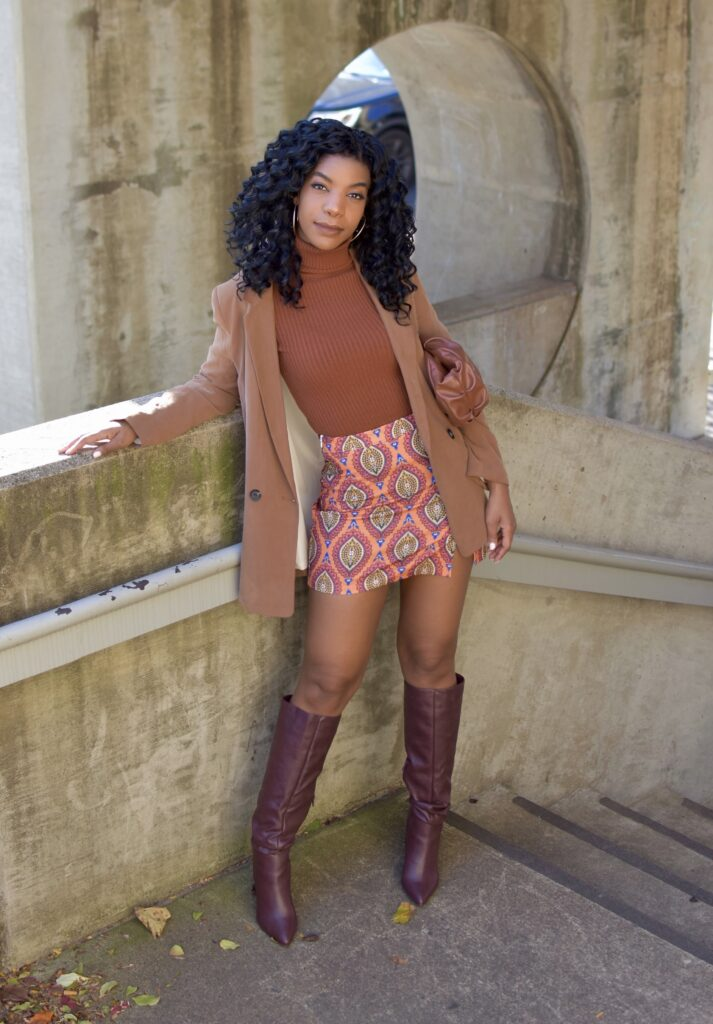 Multicolor SHEIN Split Hem Tribal Print Bodycon Skirt, Camel Ribbed Turtleneck Sweater, Camel Oversized Blazer, Shoedazzle Carole Heeled Boot in Bordeaux, Asos Design Oversized Ruched Clutch, fall fashion, fall outfit, fall accessories, brunch outfit idea, date outfit idea, neutral outfit idea, going out outfit, vacation outfit, black women's style, black blogger, holiday outfit, winter outfit, curly crotchet protective hairstyle