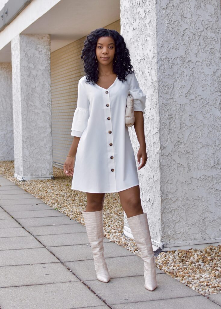 WhiteFlounce Sleeve Button Up Tunic Dress, Shoedazzle Blush Crocodile Embossed Boots, Asos Design Quilted Beige Clutch, fall fashion, fall outfit, fall accessories, brunch outfit idea, date outfit idea, neutral outfit idea, going out outfit, vacation outfit, black women's style, black blogger, holiday outfit, winter outfit, curly crotchet protective hairstyle