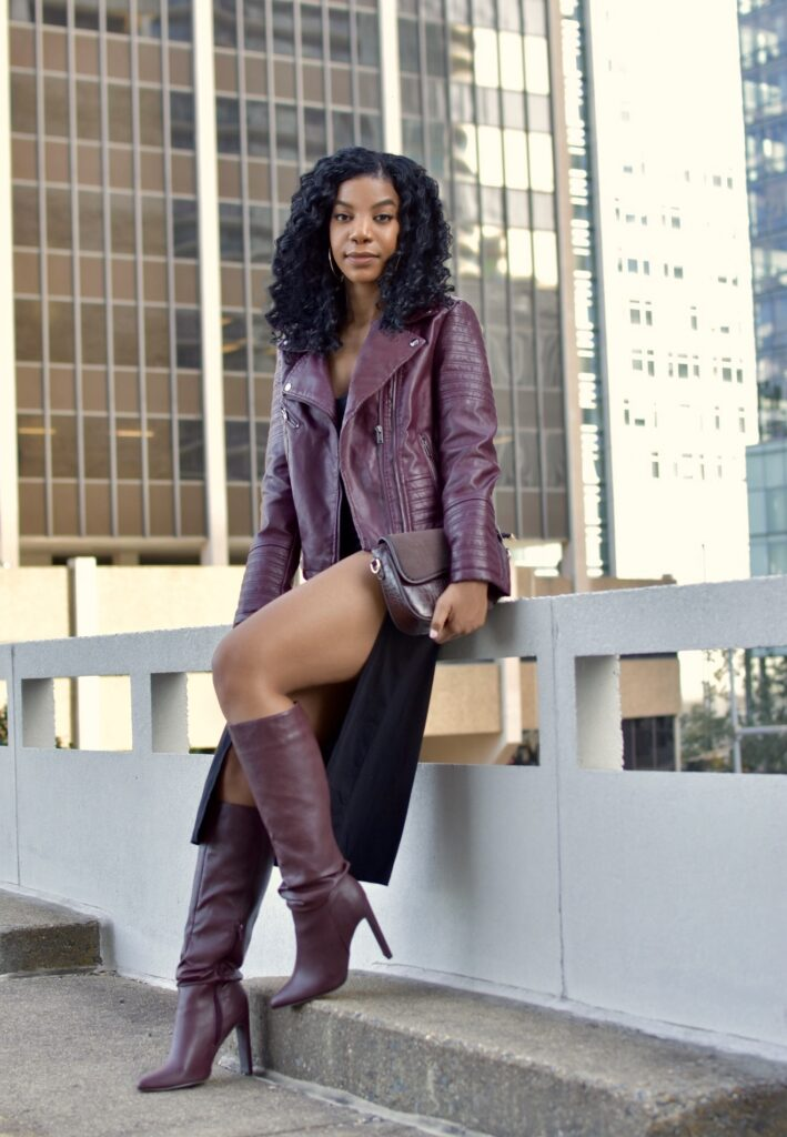 SHEIN Maroon Faux Leather Moto Jacket, Black SHEIN V Neck Split Thigh Cami Dress, SHEIN Croc Embossed Flap Tote Bag, Brown Slouch Boots, all fashion, fall outfit, date night outfit idea, going out outfit, vacation outfit, black women's style, black blogger, holiday outfit, holiday party outfit, winter outfit, curly crotchet protective hairstyle