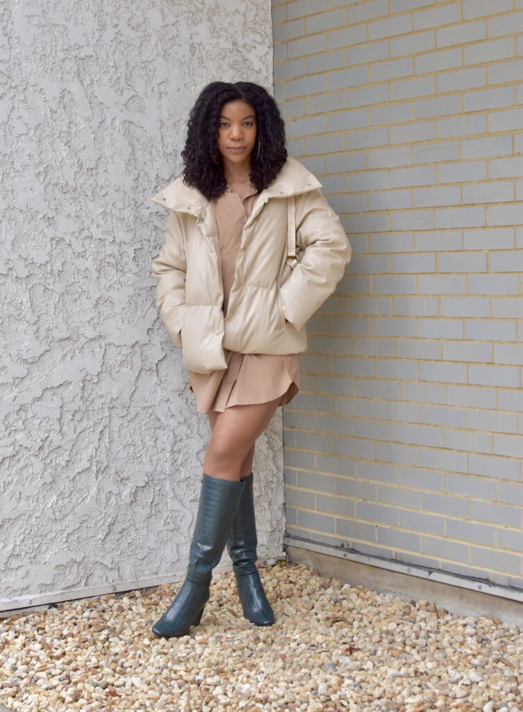 SHEIN Solid Button Through Beige PU Leather Puffer Coat , SHEIN Taupe Fold Pleat Detail Button Front Shirt Dress, Shoedazzle Ermelinda Blade Heel Dark Green Boot, fall fashion, fall outfit, date night outfit idea, going out outfit, vacation outfit, black women's style, black blogger, winter outfit, big chop hair curly natural protective hairstyle