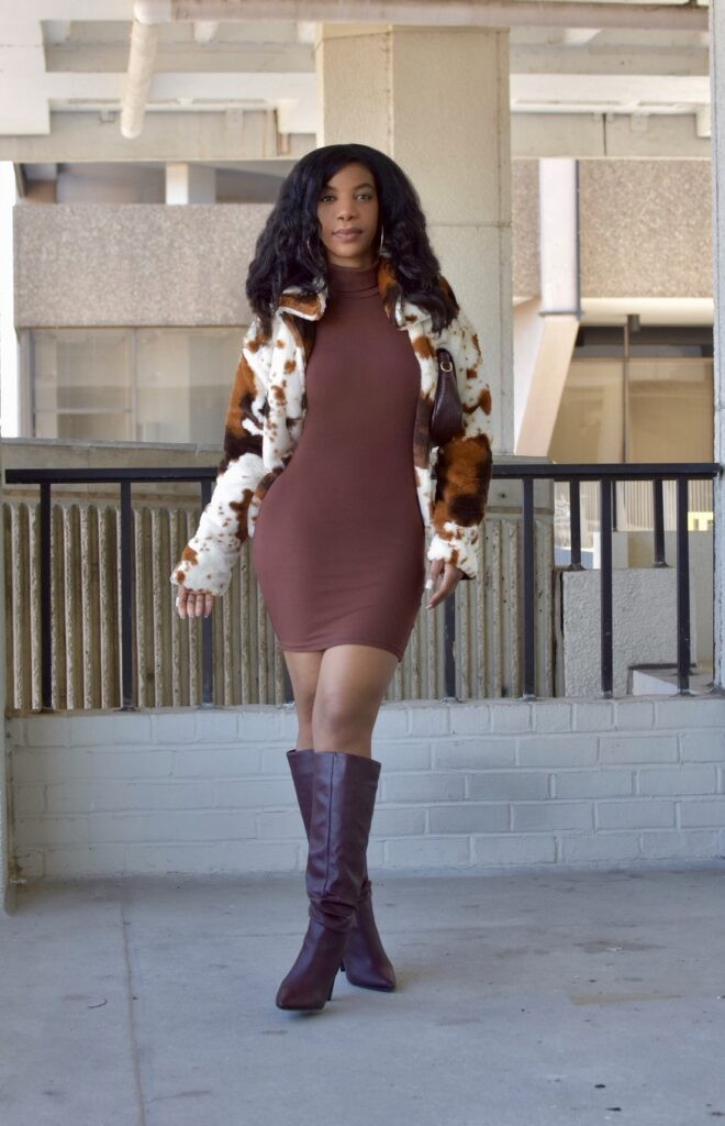 SHEIN Turtle Neck Rib-knit Bodycon Dress Brown, SHEIN Cow Print Faux Fur Open-Front Coat Brown and Cream, Croc Embossed Flap Tote Bag, Chocolate Brown Dress, Chocolate Brown Mini Dress Dress, Neutral Style, Neutral Outfit, Brunch Outfit, Date Night Outfit