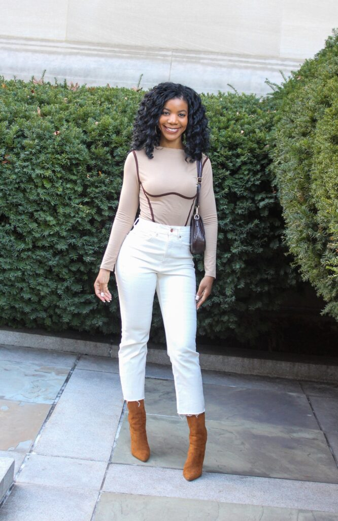 SHEIN Contrast Piping Rib-knit Bodysuit Tan and Brown, Express Off White Cropped Denim Jeans, Forever21 Camel Booties, Neutral Style, Neutral Outfit, Brunch Outfit, Date Night Outfit